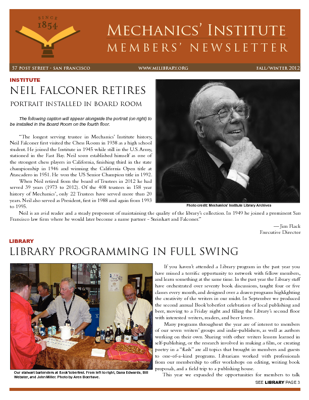 PDF version of the 2012 Members' Newsletter publication
