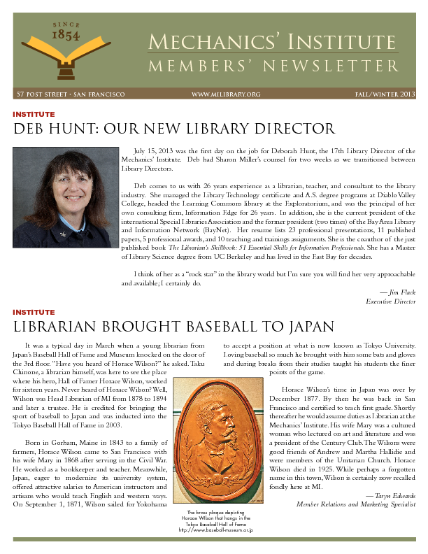 PDF version of the 2013 Members' Newsletter publication