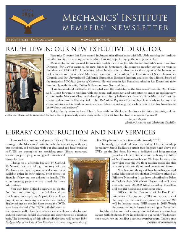 PDF version of the 2014 Members' Newsletter publication