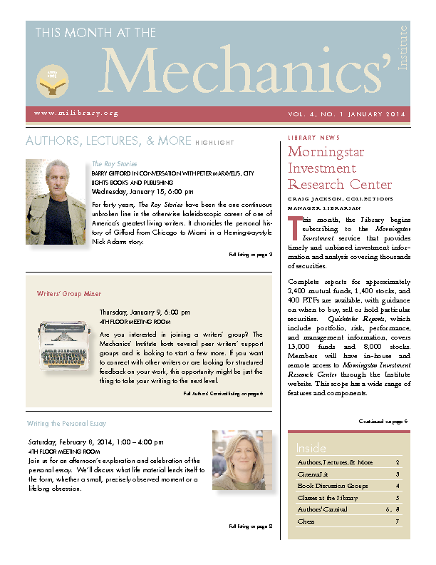 PDF version of theThis Month: January 2014 publication