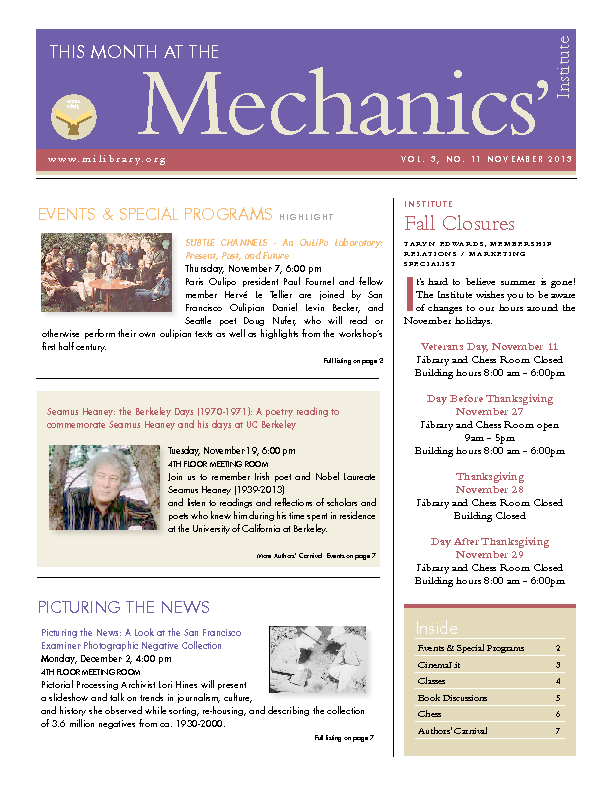 PDF version of theThis Month: November 2013 publication
