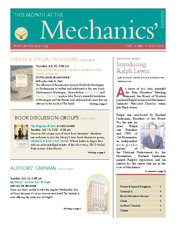 PDF version of theThis Month: July 2014 publication