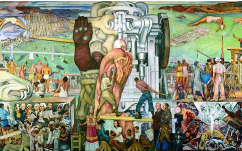 Tour of diego rivera s pan american unity mural at city for Diego rivera pan american unity mural