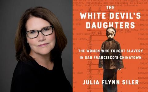 white woman with book cover on chinese slavery