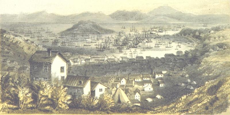 Painting by Barard Taylor titled San Francisco in November 1849