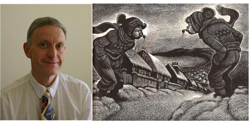 Photograph of Dulais Rhys and an illustration from the book