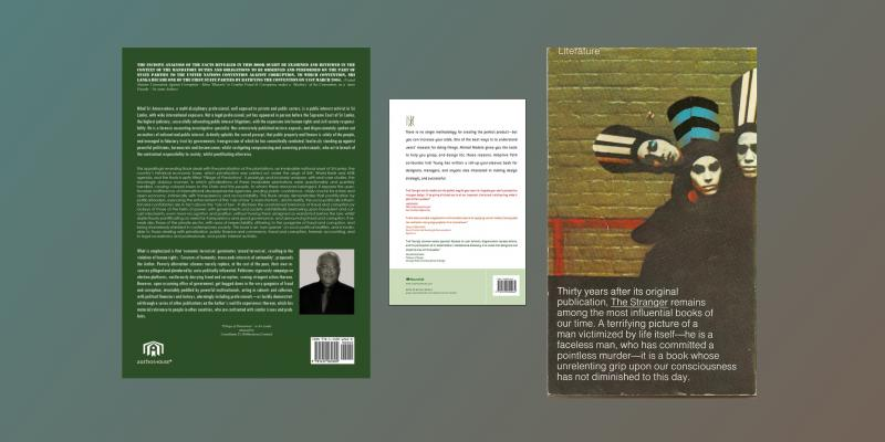 Back covers of various books