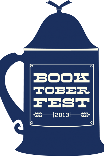 A graphic of a blue German beer stein with Booktoberfest 2013 printed on it.