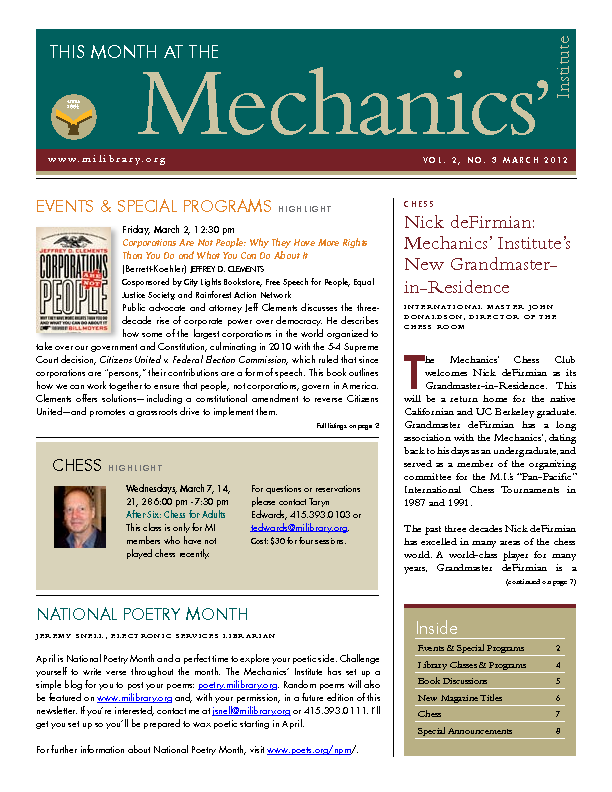 PDF version of theThis Month: March 2012 publication