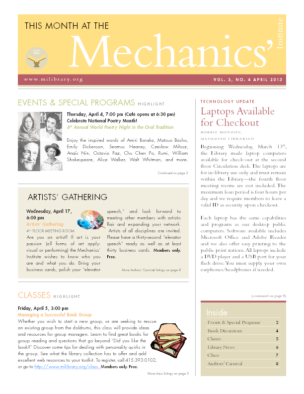 PDF version of theThis Month: April 2013 publication