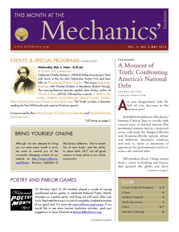 PDF version of theThis Month: May 2012 publication